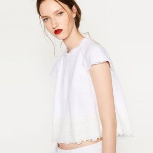 NWT Zara White Tweed Cropped Top with Lace Trim